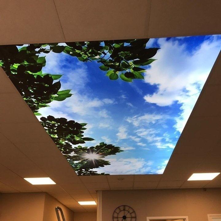 Textiel fotoplafond in systeemplafond